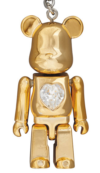 Bearbrick Crystal Heart Metal Charm [Gold] (50%)