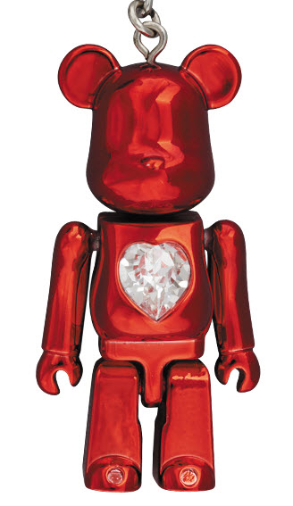 Bearbrick Crystal Heart Metal Charm [Red] (50%)